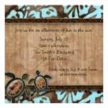 Luau Party Invitation Turtle Blue Brown
