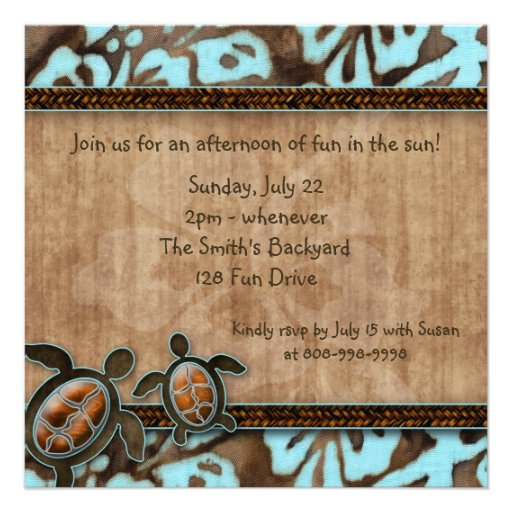 Luau Party Invitation Turtle Blue Brown