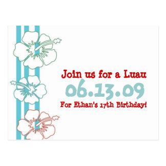 Luau Party Invitations Postcard