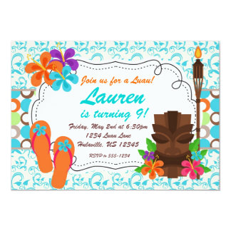 Luau Party Invite, Turquoise Damask and Tiki Man 5x7 Paper Invitation Card