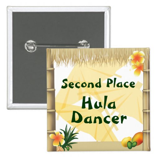 Luau Party Second Place Hula Dancer Award Button
