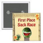 Luau Party Tiki Hut 1 Place Watermelon Sack Race 1 2 Inch Square Button