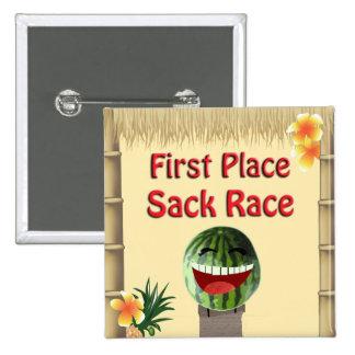 Luau Party Tiki Hut 1 Place Watermelon Sack Race 1 Pinback Button