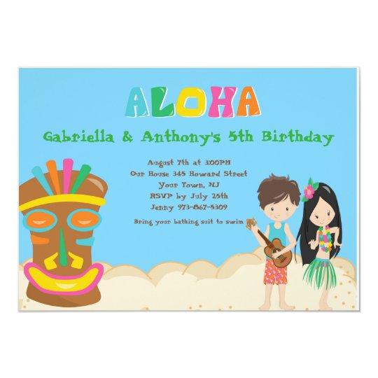 Luau Party With Boy Girl Tiki Birthday Invitation