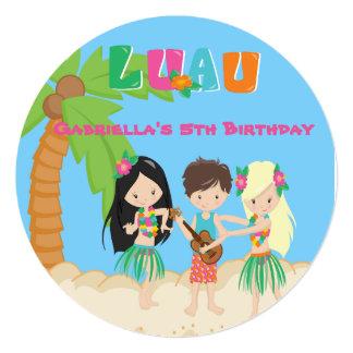 Luau Party With Palm Tree & Kids Round Invitation