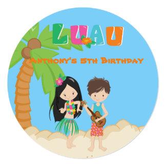 Luau Party With Palm Tree Round Invitation