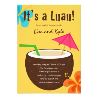 Luau Shower or Engagement Party Personalized Invitation