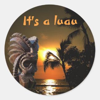 Luau Tiki Classic Round Sticker