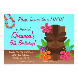 Luau Tiki Man and Flowers Birthday Party 5x7 Paper Invitation Card