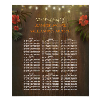 Luau Tropical Beach Flowers Wedding Seating Chart Poster