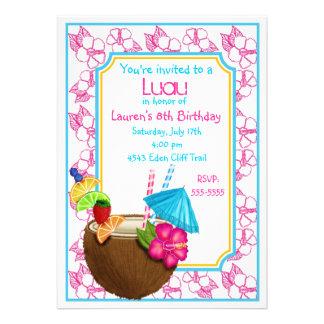 Luau Tropical coconut Drink Birthday Invitations