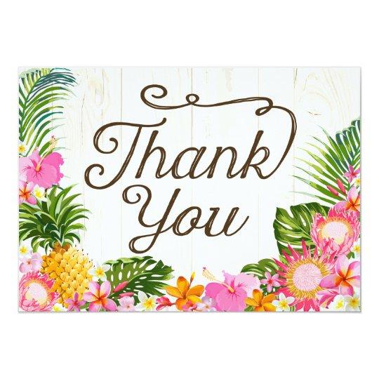 Preferred Luau Tropical Floral Beach Rustic Thank You Card | Zazzle.com CK42