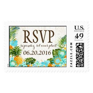 Luau Tropical Floral Rustic Beach RSVP Wedding Postage