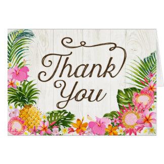 Luau Tropical Floral Rustic Beach Thank You Card