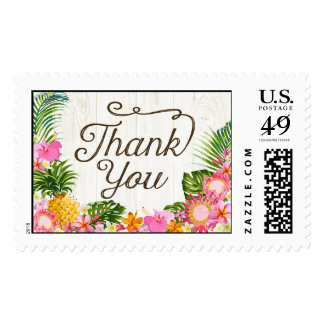 Luau Tropical Floral Rustic Beach Thank You Postage