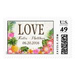 Luau Tropical Floral Rustic Beach Wedding Postage