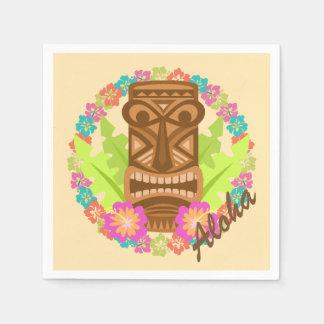 Luau Tropical Flowers and Tiki Paper Napkin