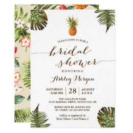 Tropical bridal shower invitations announcements zazzle luau tropical leaves pineapple bridal shower card filmwisefo Image collections