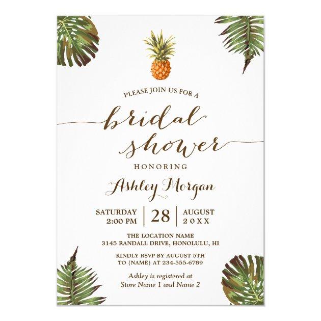 Luau Tropical Leaves Pineapple Bridal Shower Card (back side)