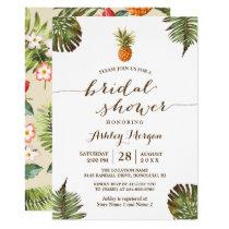 Luau Tropical Leaves Pineapple Bridal Shower Invitation