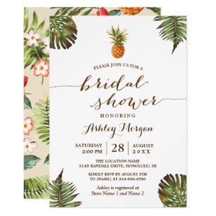 Hawaiian bridal shower invitations zazzle luau tropical leaves pineapple bridal shower invitation filmwisefo