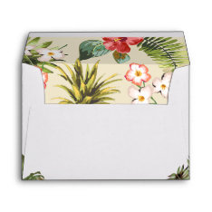 Luau Tropical Leaves Pineapple With Return Address Envelope at Zazzle