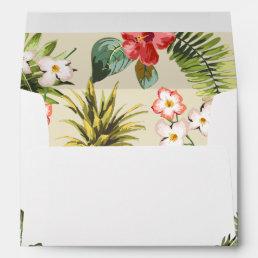 Luau Tropical Leaves Pineapple with Return Address Envelope