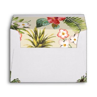 Luau Tropical Leaves Pineapple with Return Address Envelope