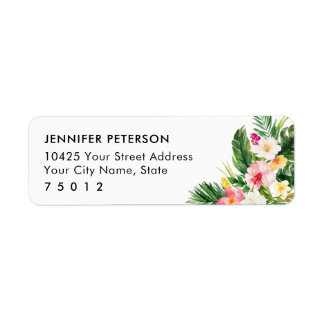 Luau Tropical Leaves Return Address Labels