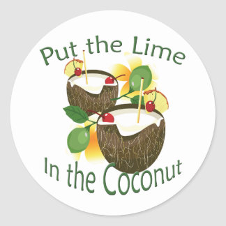 Luau Tropical Party Funny Coconut Drink Sticker