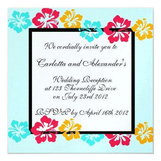 "Luau Wedding Invitation 5.25"" Square Invitation Card"