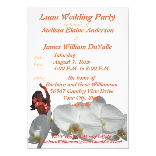 Luau Wedding Party for Couples Invitations from Zazzle.com