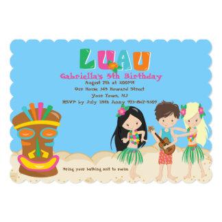 Luau With Kids and Tiki Birthday Invitation