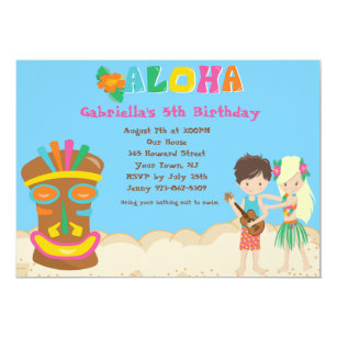 Kids luau invitations zazzle luau with kids and tiki birthday invitation filmwisefo