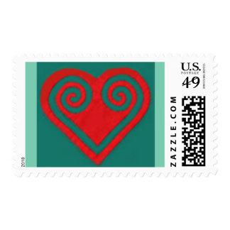 Lub Plawv-The Heart Postage