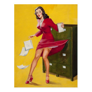 Lubberly Secretary PinUp Postcard