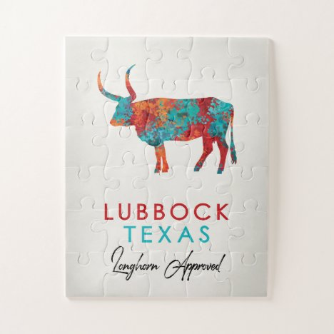 Lubbock Texas Colorful Longhorn Jigsaw Puzzle