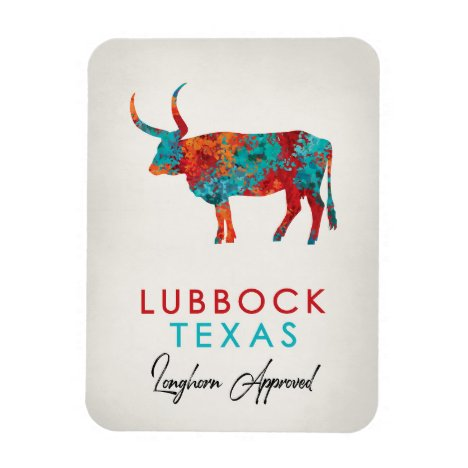 Lubbock Texas Colorful Longhorn Magnet