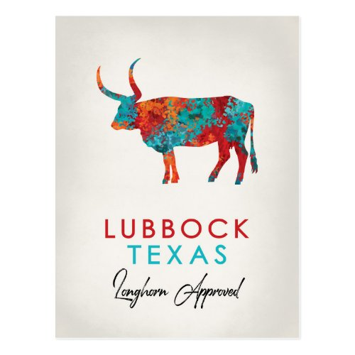 Lubbock Texas Colorful Longhorn Postcard