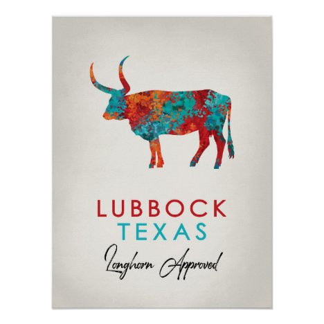 Lubbock Texas Colorful Longhorn Poster