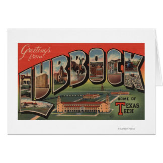 Lubbock, TexasTech - Large Letter Scenes Greeting Card