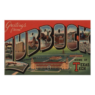 Lubbock, TexasTech - Large Letter Scenes Poster
