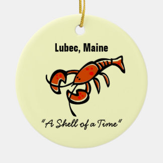 Lubec, Maine Lobster Double-Sided Ceramic Round Christmas Ornament