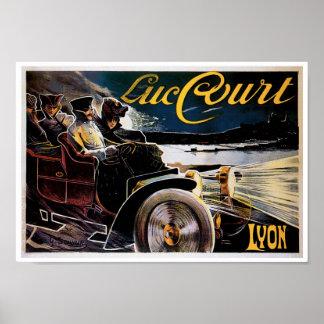 Luc Court Lyon Automobile Ad Vintage Art Poster