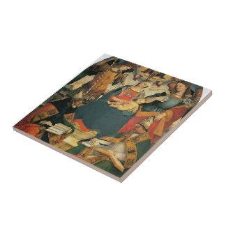 Luca Signorelli- la trinidad, Virgen, dos santos Azulejos Cerámicos