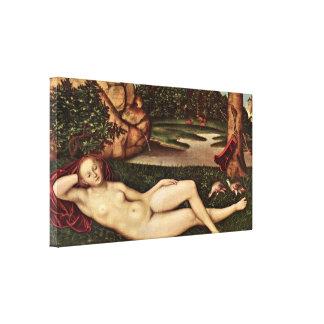 Lucas Cranach the Elder - Dormant nymph Canvas Print