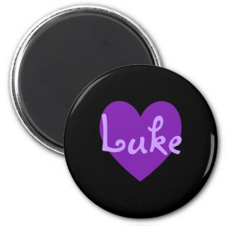 Lucas en púrpura imán redondo 5 cm