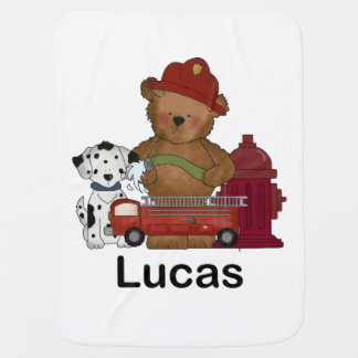 Lucas Little Fire Bear Personalized Gifts Stroller Blanket