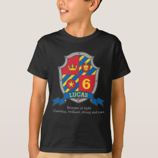 Lucas name meaning 6th birthday knights shield T-Shirt
