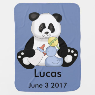 Lucas's Personalized Panda Swaddle Blanket